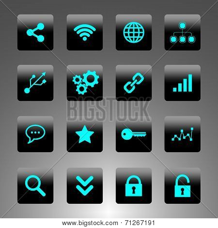 Set of black and cyan icons - technology, business and web