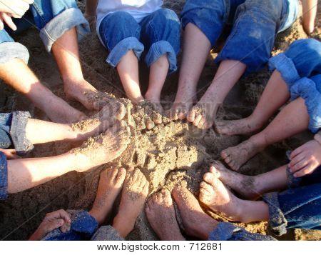Kids Feet At Beach