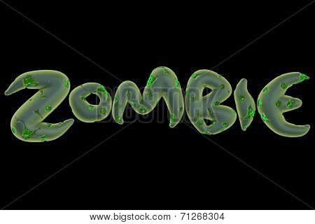 3D Green Zombie Word On Black