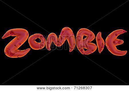 3D Orange Pink Zombie Word On Black