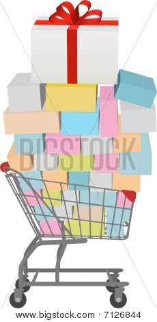 Comprar carrinho de compras completo do caixas de presente de muitos