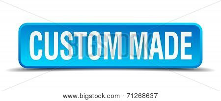 Custom Made Blue 3D Realistic Square Isolated Button