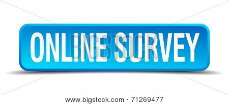 Online Survey Blue 3D Realistic Square Isolated Button