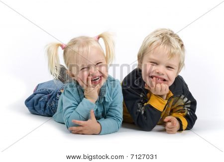 happy  brothers, boy and girl