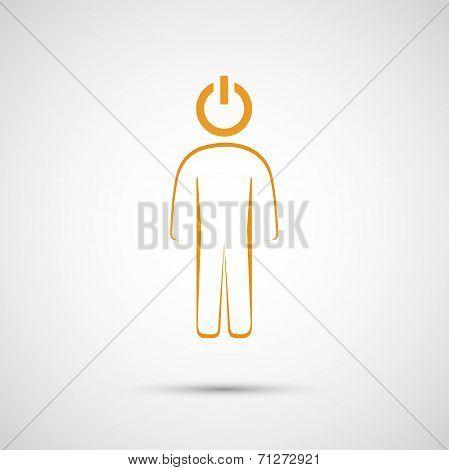 vector abstract human contour button to play