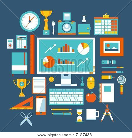 Flat design style modern vector illustration icons set of office items and tools, office various obj