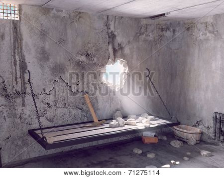 escape from prison cell. 3D creative concept
