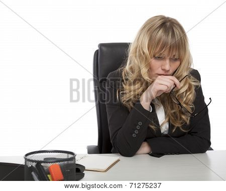 Young Businesswoman Deep In Thought