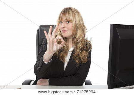 Businesswoman Giving A Perfect Gesture