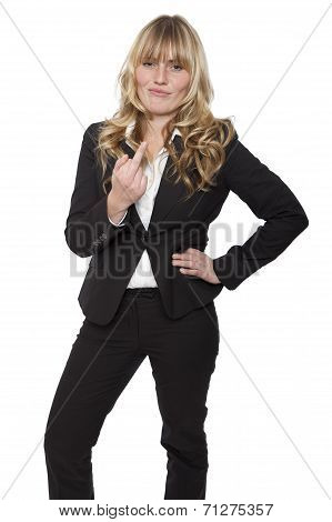 Young Businesswoman Making A Rude Gesture