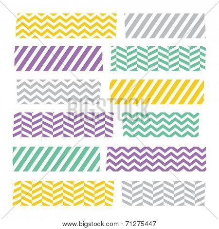 Set of colorful patterned washi tape stripes