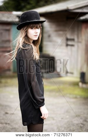 Beautiful Woman Wearing Bowler Hat