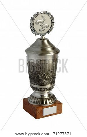 Silver Trophy Cup Isolated On White Background