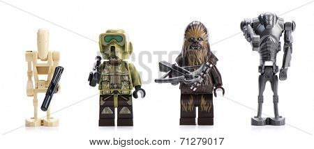 Ankara, Turkey - April 23, 2014: Lego Star Wars Droid Gunship minifigures isolated on white background.