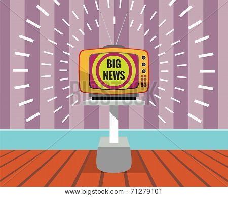 Big news - vector drawing of a TV SET with big news screen.