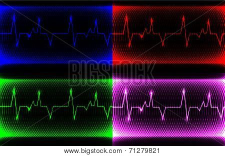 set Colorful human heart normal sinus rhythm, electrocardiogram record. Bright and bold design with