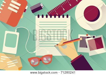 Writing into notebook background with coffee, photos, glasses and flash drive, vector
