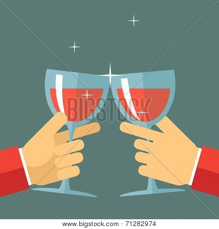 Victory Celebration Success and Prosperity Symbol Hands Holds a Glasses with Drink Icon on Stylish B