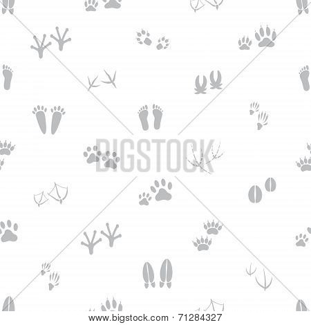 Basic Animal Footprints Gray And White Seamless Pattern Eps10