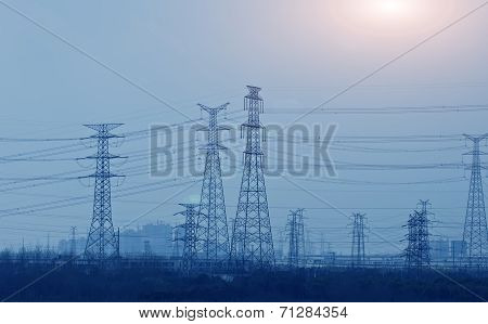 large electricity station, power tower in China