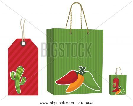 mexican bag and tag set