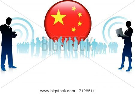 Business Team With Chinese Internet Button