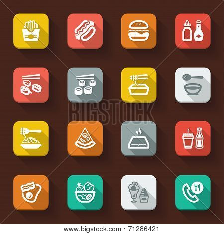 Fast Food And Junk Food Flat Icons
