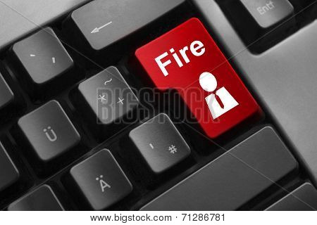Red Keyboard Button Fire Employee  Dismissal