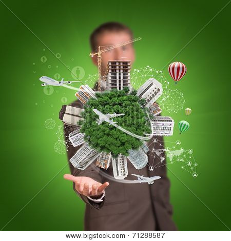 Business man hold Earth with buildings. Airplanes and network icons