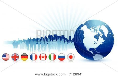 Globe With Internet Flag Buttons Background