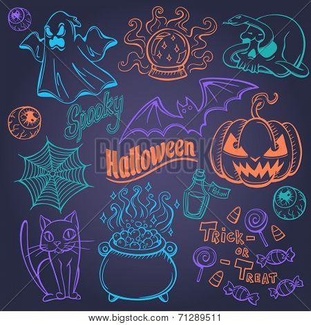 Halloween doodles set