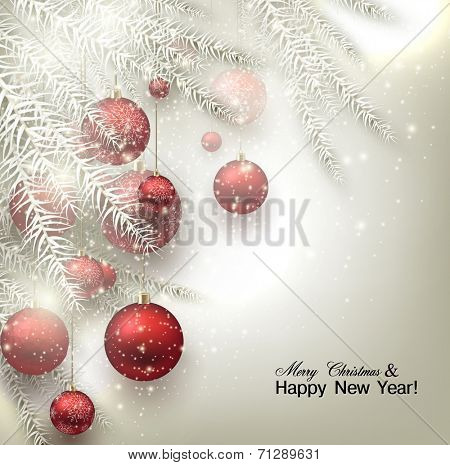 Christmas background with balls. Red Xmas baubles. Vector