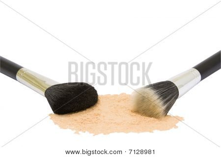 Two Make-up Brushes With Powder Isolated