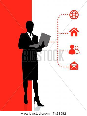 Business Woman Accessing Internet On Laptop