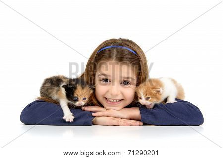 Girl With Baby Cats