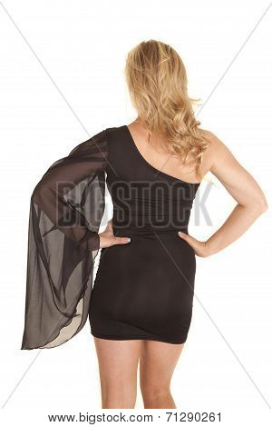 Close Up Of The Back Of A Woman In Her Black Formal Dress