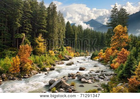 Colourful Mountain Landscape In Autumn