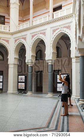 Tourists In Sarajevo City Hall