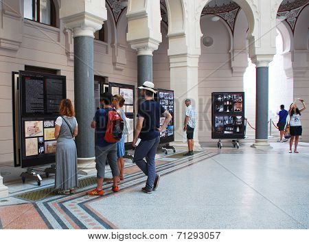 Tourists In Sarajevo City Hall