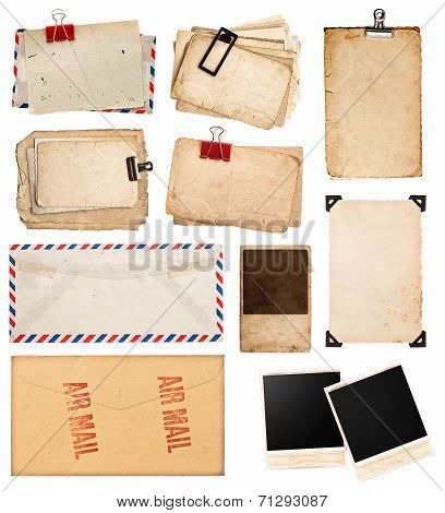 Vintage Papers, Postcards And Photo Frames Isolated On White