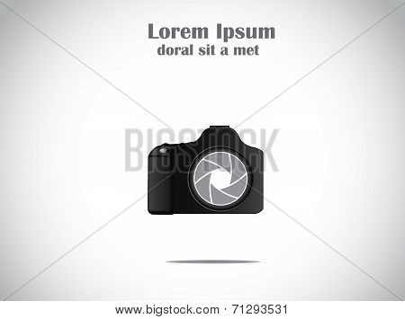 Concept Illustration Of Trendy Minimalistic Slr Camera With Colorful Shutter Icon Symbol