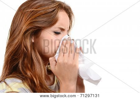 Young girl with allergy isolated on white
