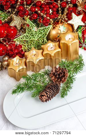 Advent Table Place Setting Decoration In Red, Green, Gold