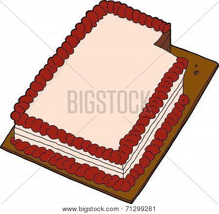 Sliced Cake Over White