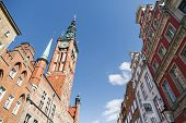 picture of tenement  - Old town by Long Lane in Gdansk Poland with Town Hall and colorful tenement houses - JPG