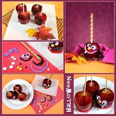 pic of toffee  - Making homemade Happy Halloween toffee caramel candy apples with crazy smiling faces for trick or treating collage of five images with sample text - JPG