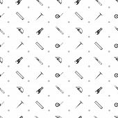 stock photo of linoleum  - Seamless vector pattern with black contour tools for working with linoleum on white background - JPG
