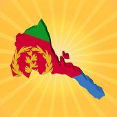 pic of eritrea  - Eritrea map flag on sunburst illustration - JPG