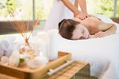 image of day care center  - View of an attractive young woman receiving back massage at spa center - JPG