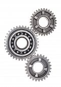 picture of interlock  - A group of interlocking transmission gears on a white background - JPG